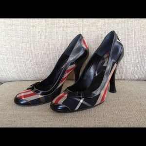 "Burberry Plaid Shoes in Red and Black with 4"" heel"